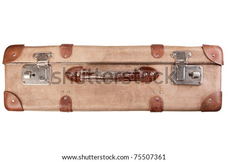 Vintage brown suitcase isolated over white background
