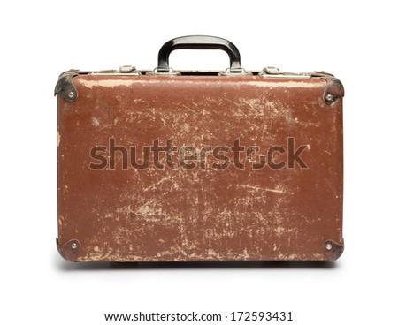 Vintage brown suitcase on white background Stock photo ©