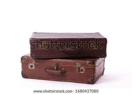 vintage brown suitcases on white background Stock photo ©