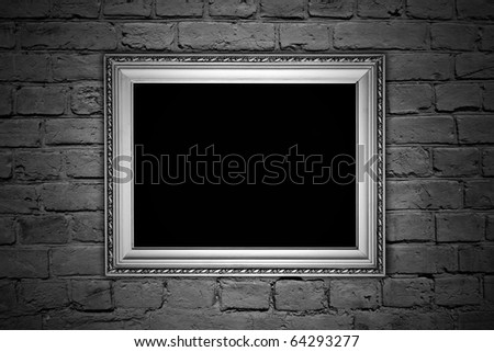 vintage brown textured brick wall with a frame