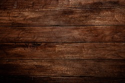 Vintage brown wood background texture with knots and nail holes. Old painted wood wall. Brown abstract background. Vintage wooden dark horizontal boards. Front view with copy space. Background for des