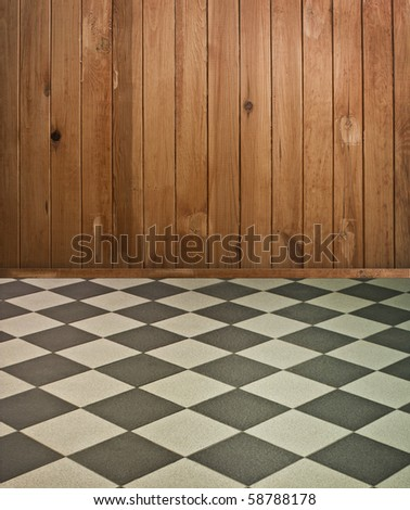 vintage brown wooden interior with chess floor and artistic shadows added
