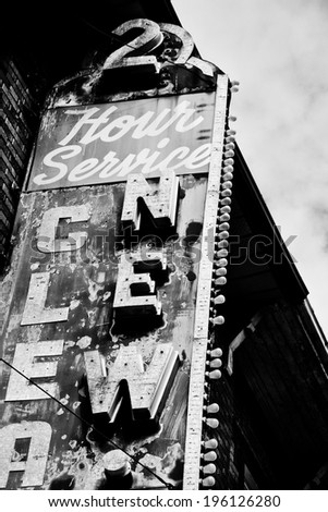 vintage building sign in black and white