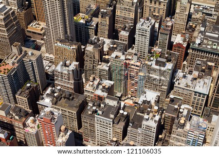 Vintage Buildings Texture Background of New York City - stock photo