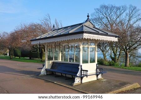 vintage bus shelter - stock photo