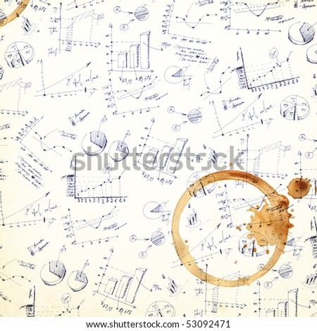 Vintage business plans coffee stained background.