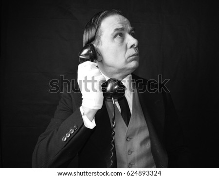 vintage butler with telephone