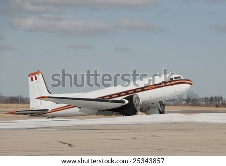 Vintage C-117 Airplane Parked On Tarmac Stock Photo ...