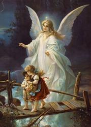 Vintage (c.1895) illustration of guardian angel protecting children.