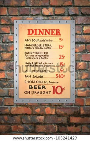 Vintage cafe menu mounted on a riveted aluminum sheet, with a brick wall background. / Vintage Cafe Menu on Brick Wall / Nice addition to any coffee shop, restaurant, or cafe wall.