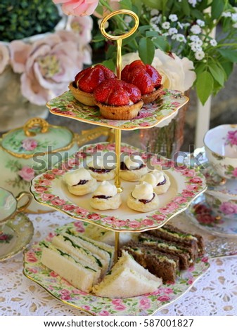 vintage cake stand with scones  ...