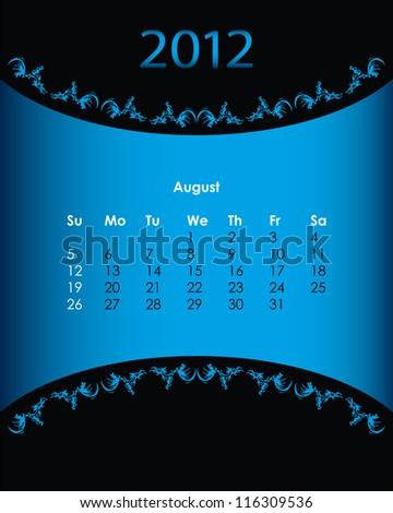 vintage calendar for 2012, august