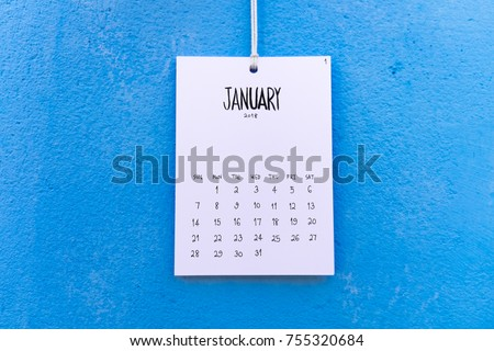 Vintage calendar 2018 handmade hang on the blue wall, January 2018 #755320684