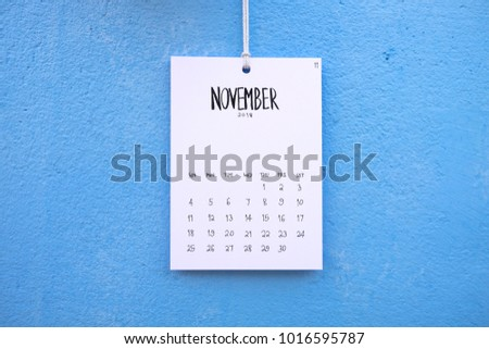 Vintage calendar 2018 handmade hang on the blue wall, November 2018