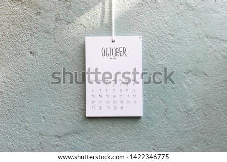 Vintage calendar 2019 handmade hang on the wall, October 2019 #1422346775