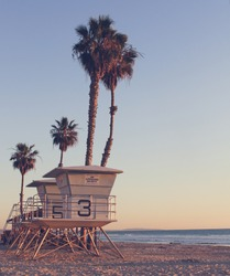 Vintage California Life Guard Station - California beach with life guard