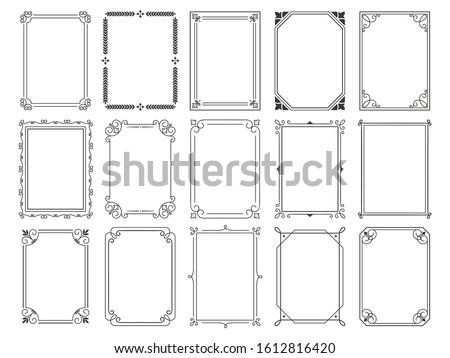 Vintage calligraphic frames. Ornate calligraph frame, retro elegant ornamental borders and filigree floral ornaments for framed certificate template. Isolated  illustration signs set