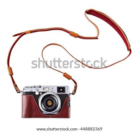 vintage camera isolate on white ...