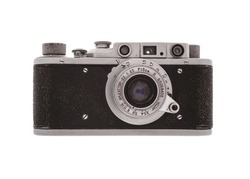 Vintage camera isolated on white background.