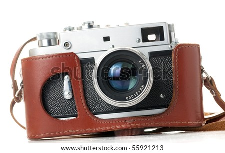 vintage camera isolated on white. Focused on lens.