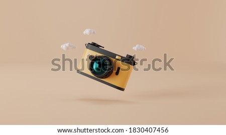 Vintage camera isolated on yellow background. travel concept. minimal style with copy space. 3d rendering.