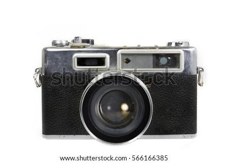 vintage camera on white...