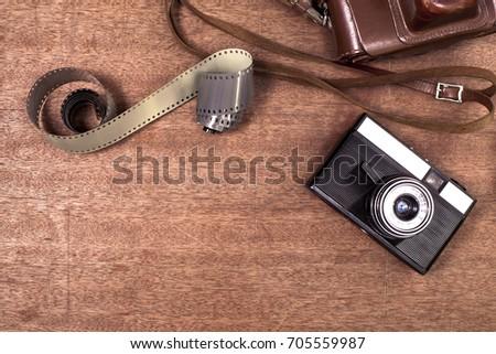 vintage camera on wooden...