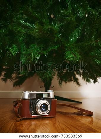 vintage camera under bare...
