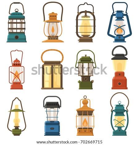 vintage camping lantern set...
