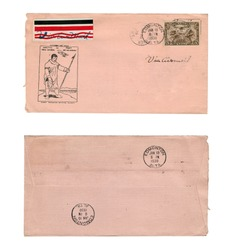 Vintage Canadian air mail envelope from 1930. Front and back are both pictured.