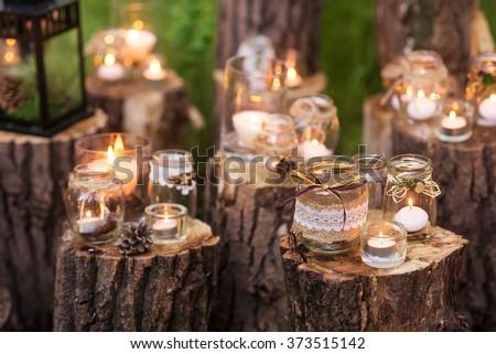 vintage candles decor. toned...