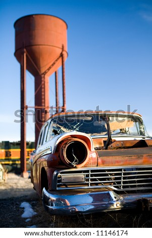 Vintage car broken and abandoned in a small town, Wyoming, United States