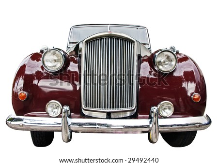 Vintage car front view isolated over white