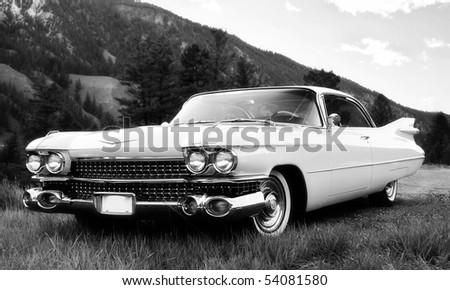 vintage car in black and white