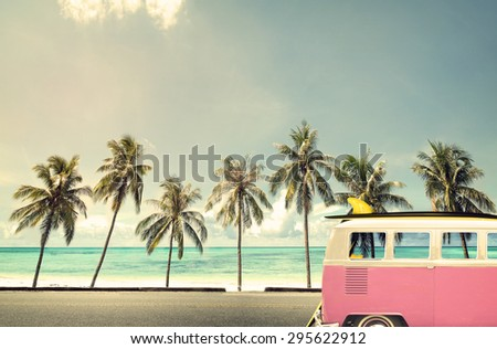 vintage car in the beach with a ...