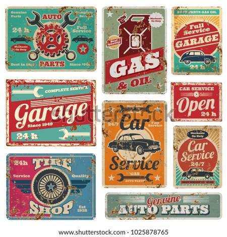 Vintage car service and gas station metal signs. Gas station for car, metal grunge banner illustration