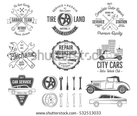 Vintage car service badges, garage repair retro labels and insignias collection. Included tire service icons and design elements. For repair workshop, classic cars auctions, clubs, tee shirt. .