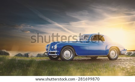 vintage car staying at sunset.