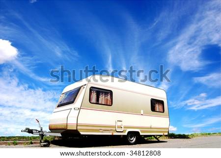 Vintage caravan on a street