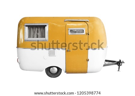 vintage caravan trailer isolated on white background