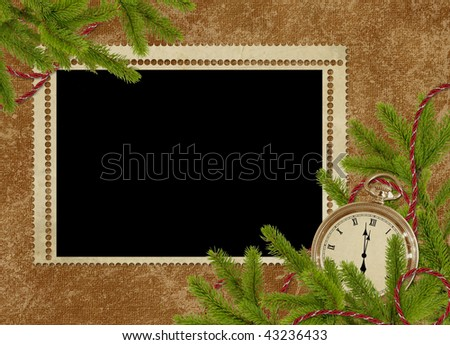 Vintage card for the holiday  with clock and branches