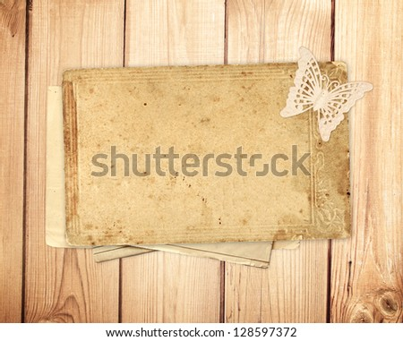 Vintage card on wooden planks