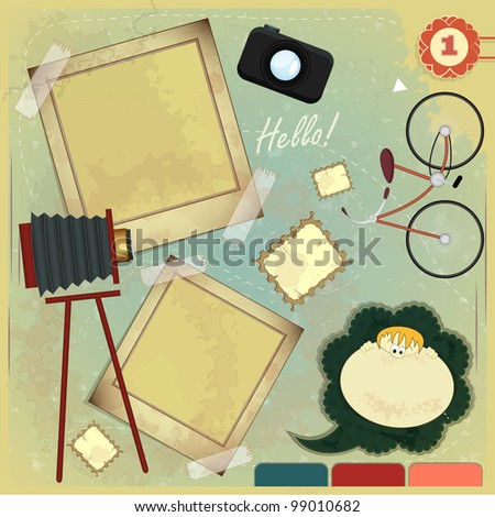 Vintage card - scrapbook elements on grunge background - JPEG version
