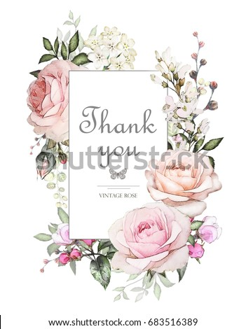Vintage Card, Watercolor wedding invitation design with pink roses, bud and leaves. flower, background with floral elements for text, watercolor background. Template.  frame