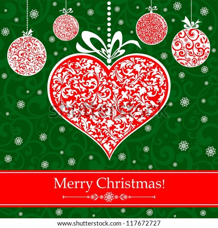 Vintage card with Christmas balls and heart. illustration
