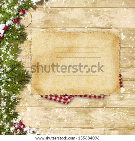 Vintage card with Christmas fir tree and decoration on a wooden