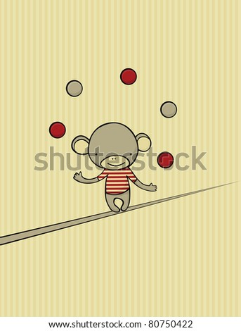 Vintage card with cute monkey juggling with 5 balls while walking on rope.