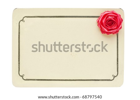vintage card with decorative rose isolated on white background with copy space