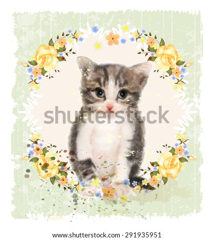 Vintage card with fluffy kitten and roses. Imitation of watercolor painting.