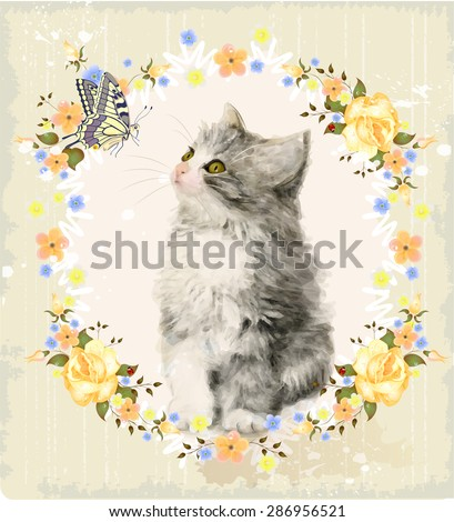 Vintage card with fluffy kitten, roses and butterfly. Imitation of watercolor painting.